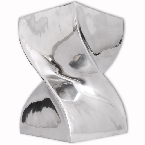 Стул / Кофейный столик с витыми в серебряном алюминиевом корпусе