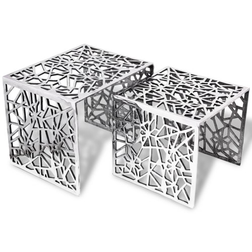 Набор из 2 маленьких столов из серебристого алюминия