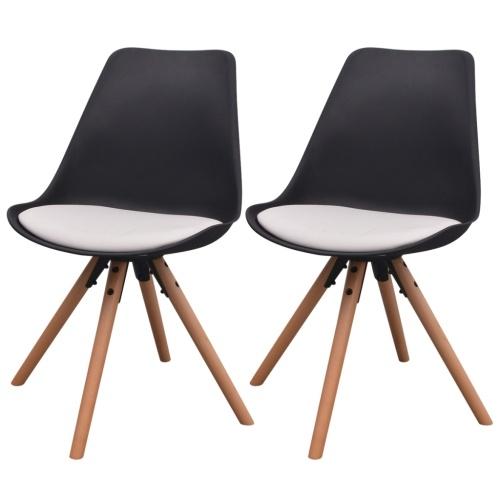 2 шт. Стулья для столовой в белой и черной искусственной коже