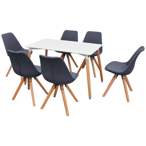 7 шт. Столик и стулья Столовая Белый и Темный Серый