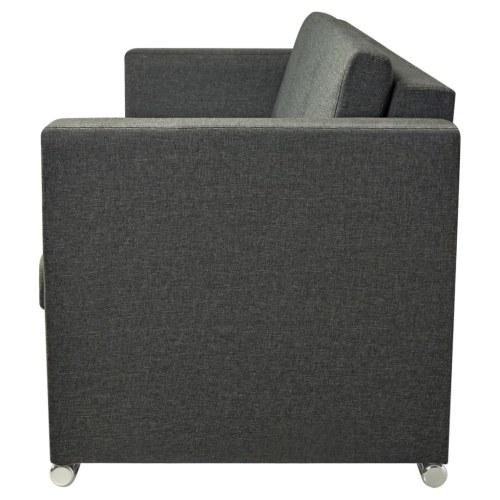 Sofá 3 plazas en tejido gris oscuro