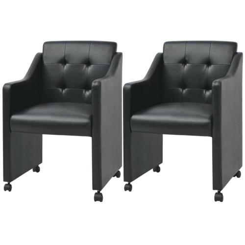 Стулья для столовой 2 шт. Черный 59x57.5x86.5 см