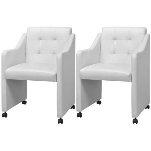 Стулья для столовой 2 шт. Белый 59x57.5x86.5 см
