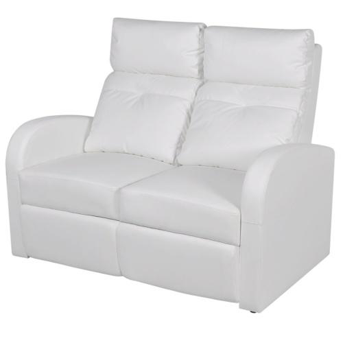 Ресинер 2-местный Cinema Кресло со светодиодной искусственной белой кожей