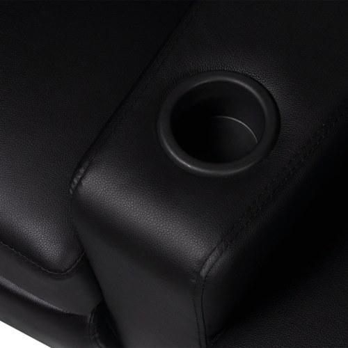 Откидывающееся трехместное кресло для кинотеатров со светодиодной искусственной черной кожей
