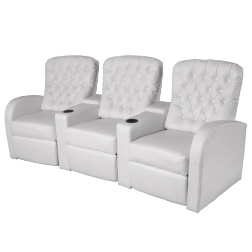 Ресинер 3-местный Кресло для кинотеатра Белая искусственная кожа