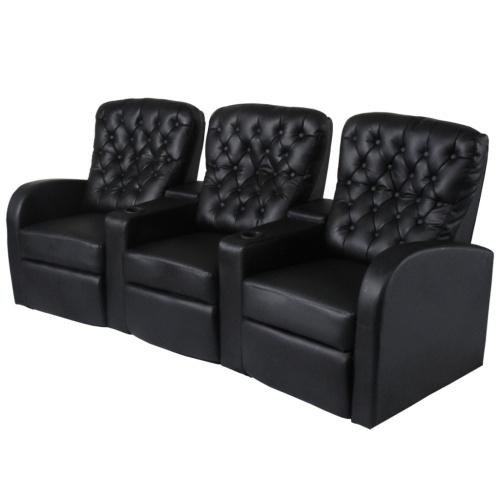 Ресинер 3-местный Кресло для кинотеатров Черная искусственная кожа