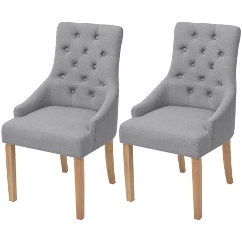 2 шт. Столовые стулья Светло-серые ткани Дубовое дерево