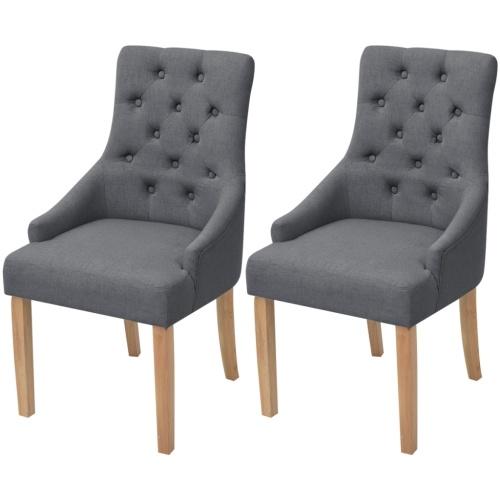 2 шт. Столовые стулья Темно-серый деревянный дуб