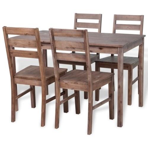 Обеденный комплект 5 штук в Solid Acacia Wood