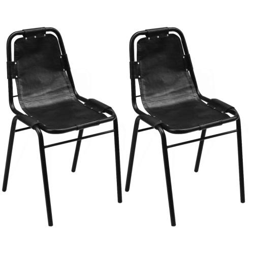 Набор из 2 стульев для столовой 49x52x88 см в натуральной черной коже