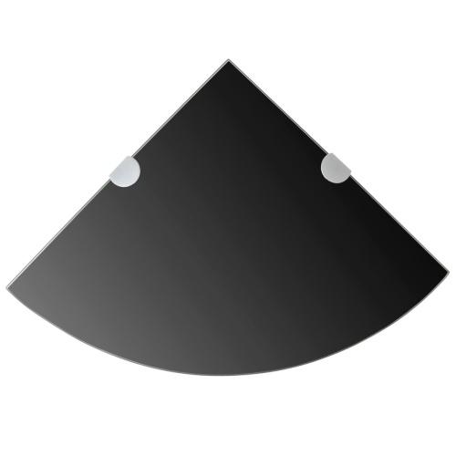 Угловой стеллаж с хромированными опорами в черном стекле 35x35 см