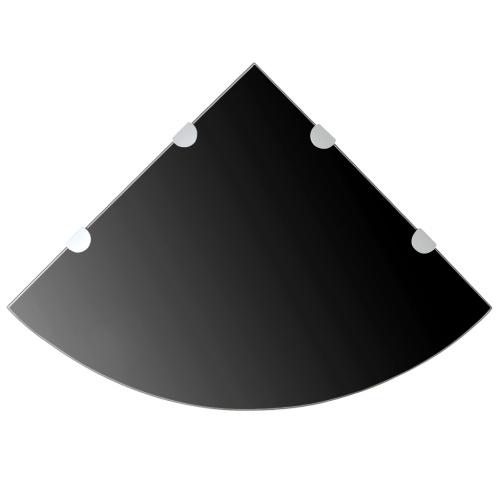 Угловой книжный шкаф с хромированным покрытием черного стекла 45x45 см