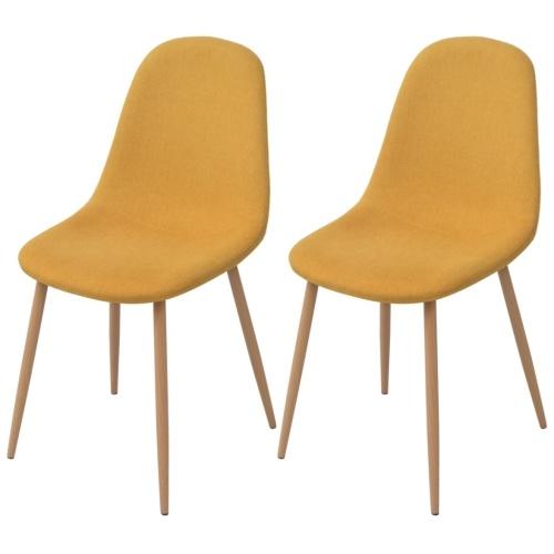 2 шт. Стулья для столовой в желтой ткани