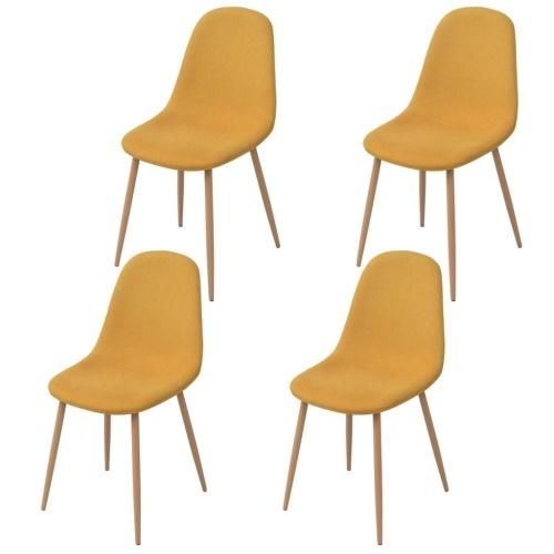 4 шт. Стулья для столовой в желтой ткани