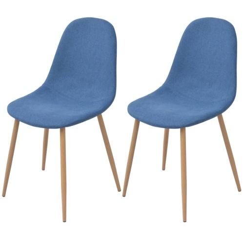 2 шт. Синяя ткань Столовые стулья