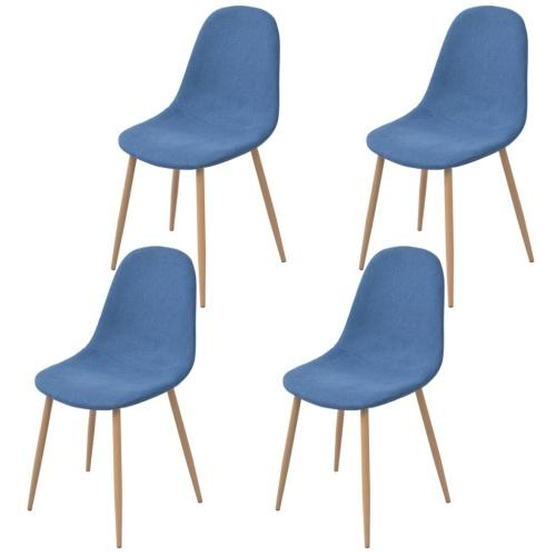 4 шт. Синяя ткань Столовые стулья