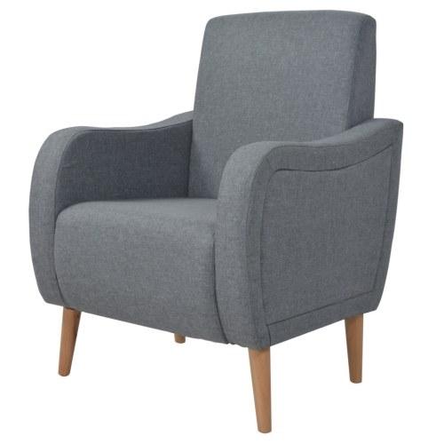Светло-серый тканевый кресле