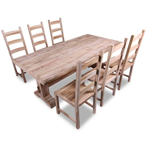 Набор 7 шт Большой стол и стулья Столовая в тике