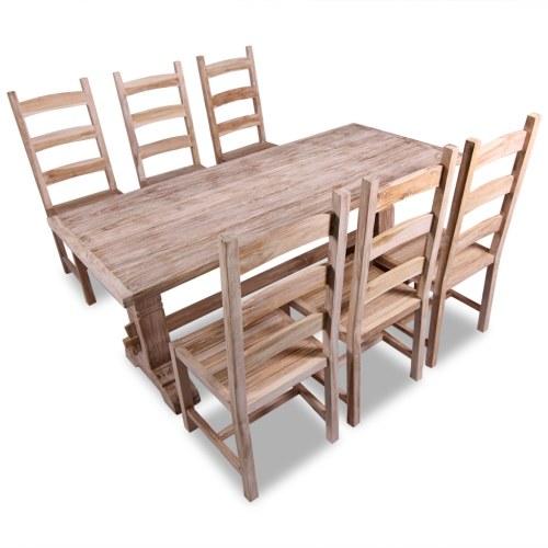 7 шт. Комплект больших обеденных столов из тика и стульев