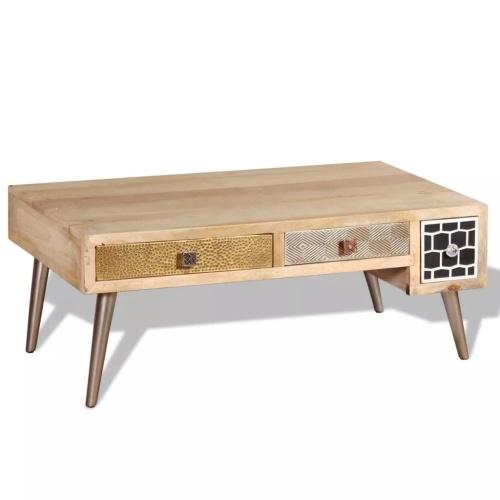 Журнальный столик с ящиками из массивного дерева Mango 105x55x41 см