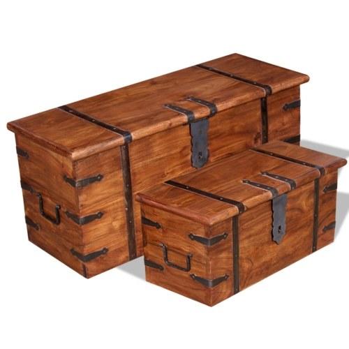 Комплект 2 шт. Твердый деревянный сундук