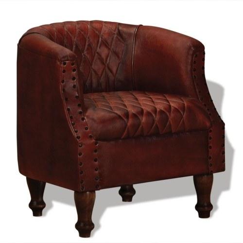 Кресло в натуральной коричневой коже