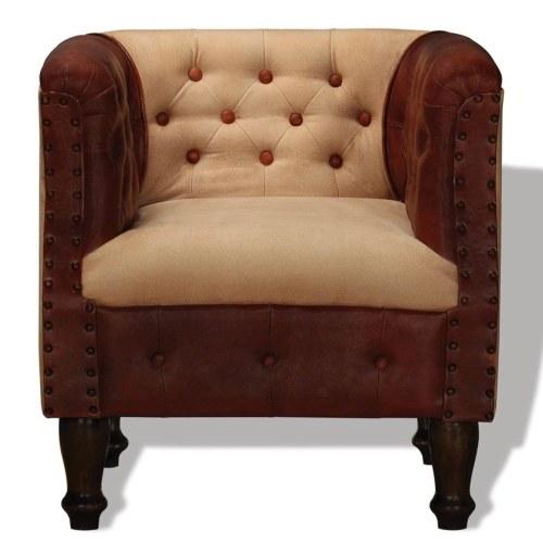 Кресло в коричневой и бежевой натуральной коже и ткани
