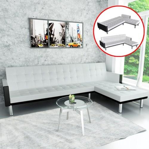 L-образный диван-кровать в белой искусственной коже