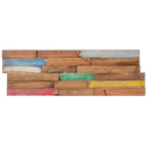 ?10 Pcs Teak Wall Panels 1 m2 in Teak