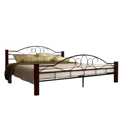 Bed Metal Black and Red Brucciato with mattress 180 cm