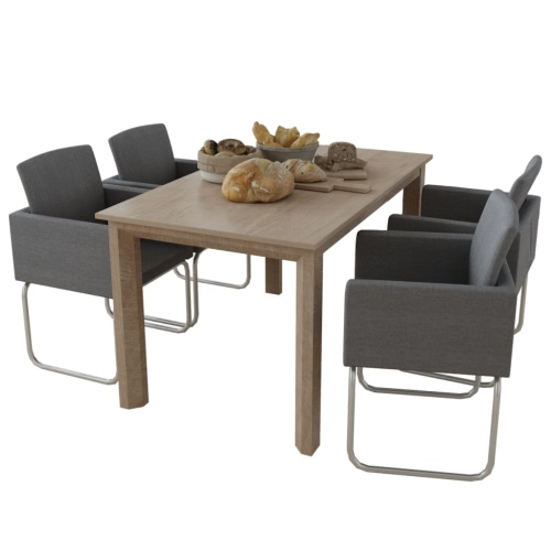 4 Chairs / dark gray lunch with armrests