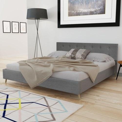 Holzbett 200x180cm mit hellgrauem Stoff + Speicher Matratze