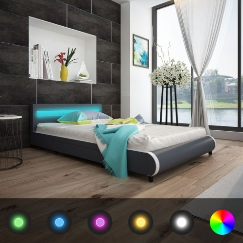 led artificial leather bed headboard 140 cm + viscoelastic mattress