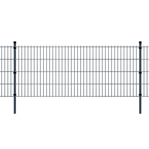 2d panels garden fence and poles 2008x830mm 50 m gray