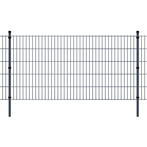 garden fence with panels and poles 2008x1030 mm 36 m grey