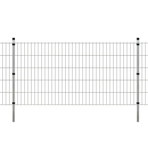garden fence with panels and poles 2008x1030 mm 10 m silver