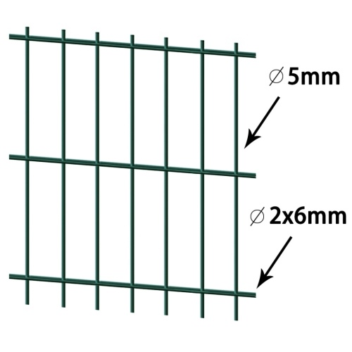2d garden fence panels with 2008x1230 mm green 16m stakes