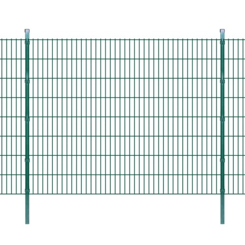2d garden fence panel with 2008x1630 mm 6m green stakes
