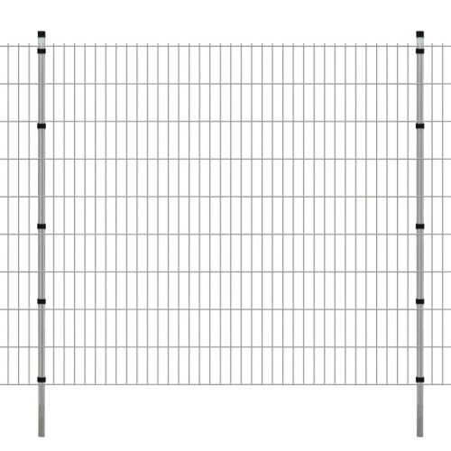 panels garden fence with poles 2008x1830 mm 28 m silver