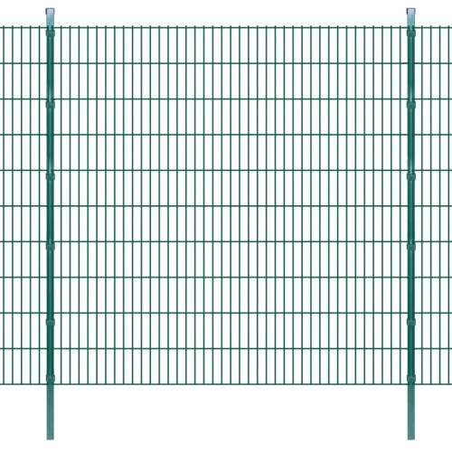 panels for garden fence with poles 2008x2030 mm 20 m green