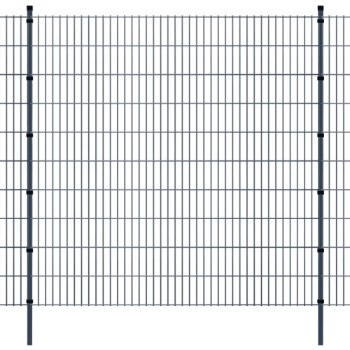 panels garden fence with poles 2008x2030 mm 16 m grey