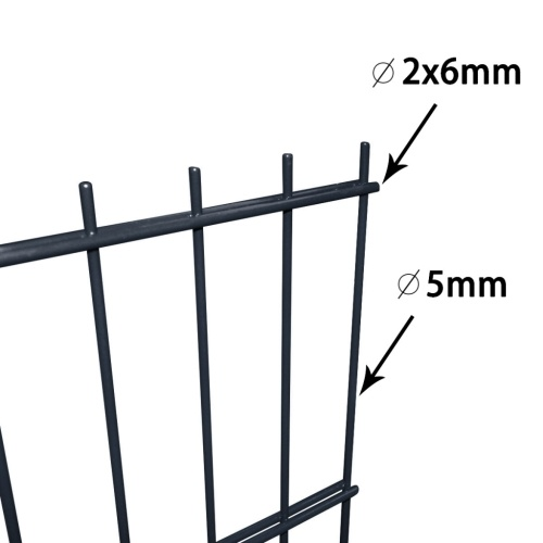 panels garden fence with poles 2008x2030 mm 32 m grey