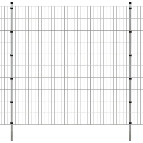 panels garden fence with poles 2008x2030 mm 32 m silver