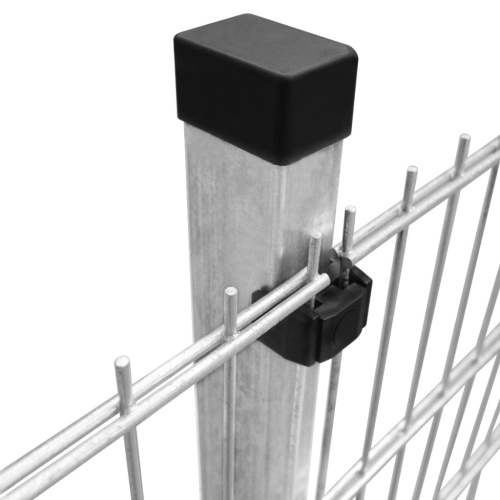 panels garden fence with poles 2008x2030 mm 34 m silver