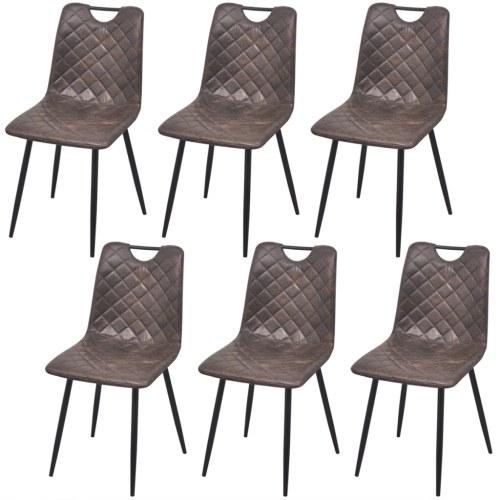 Обеденные стулья 6 шт. Темно-коричневая искусственная кожа