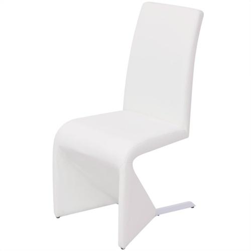 6 шт. Консольные столовые стулья из синтетической кожи белого цвета