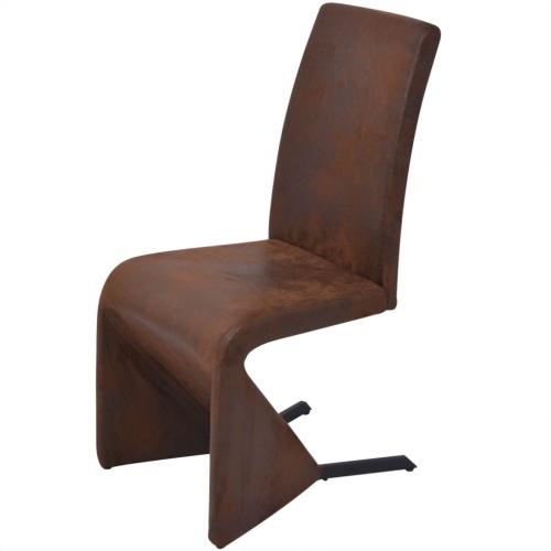 4 шт. Консольные столовые стулья в коричневой ткани