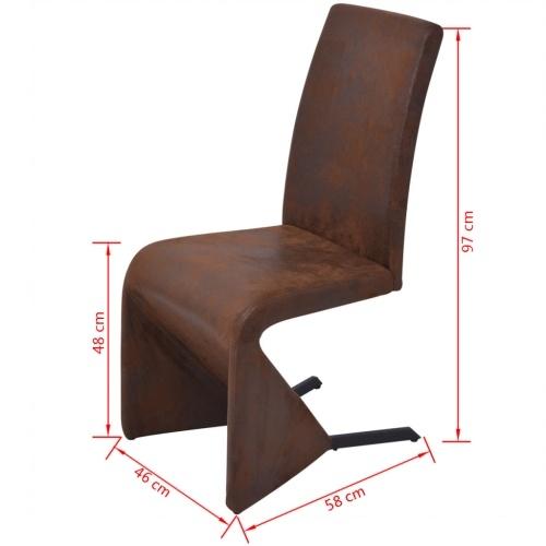 6 шт. Консольные столовые стулья в коричневой ткани