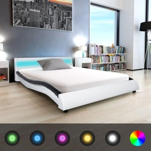 Cama LED com couro sintético MemoryFoam preto / branco 140x200cm
